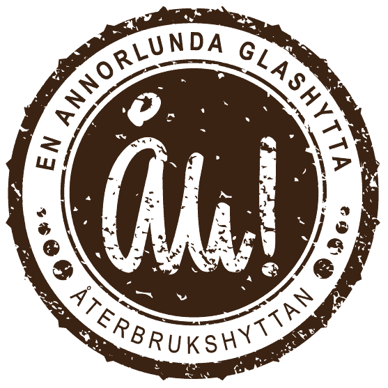 Återbrukshyttans logotyp i brunt